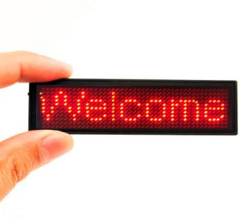 4411 Pixels Red LED Name Tag, Rechargeable LED Business Card Screen with USB Programming Digital Sign Display for Restaurant Shop Exhibition Nightclu