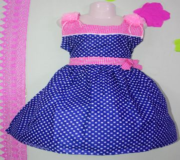 cotton fabric Baby Frock -blue