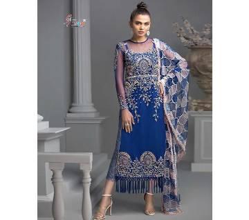 Shree Fabs Crimson Premium Collection Salwar Suit- 8142 Blue Color Unstitched Cotton Three-piece (copy)
