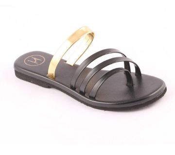 Multi Strap Atypical (Black and Golden) Shoes For Ladies