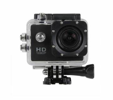 Full HD 1080P Sports Action Waterproof Camera 12MP - Black