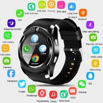V8 Smart Watch For iOS and Android Mobile -Black