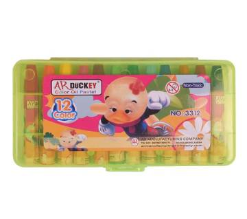 AR Ducky Oil Pastels Box -  Green Plastic Box 12 Colors