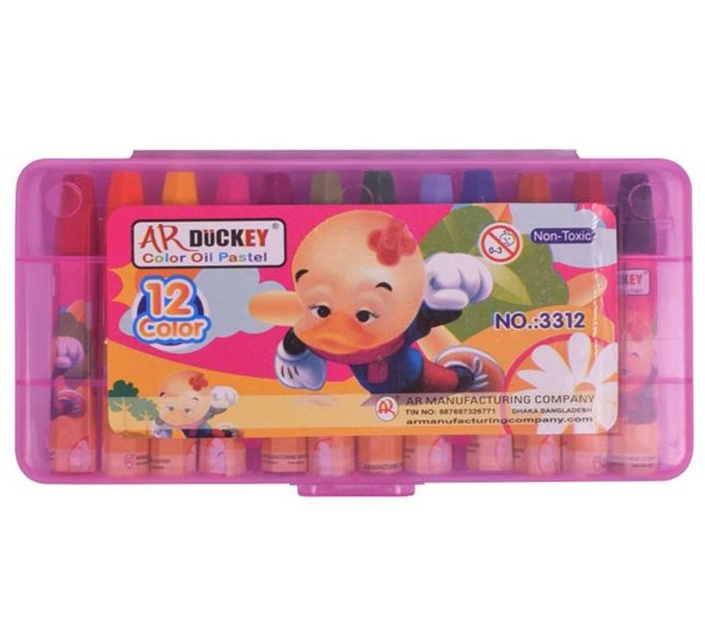AR Ducky Oil Pastels Box -  পিঙ্ক প্লাষ্টিক বাক্স 12 কালার বাংলাদেশ - 1019166