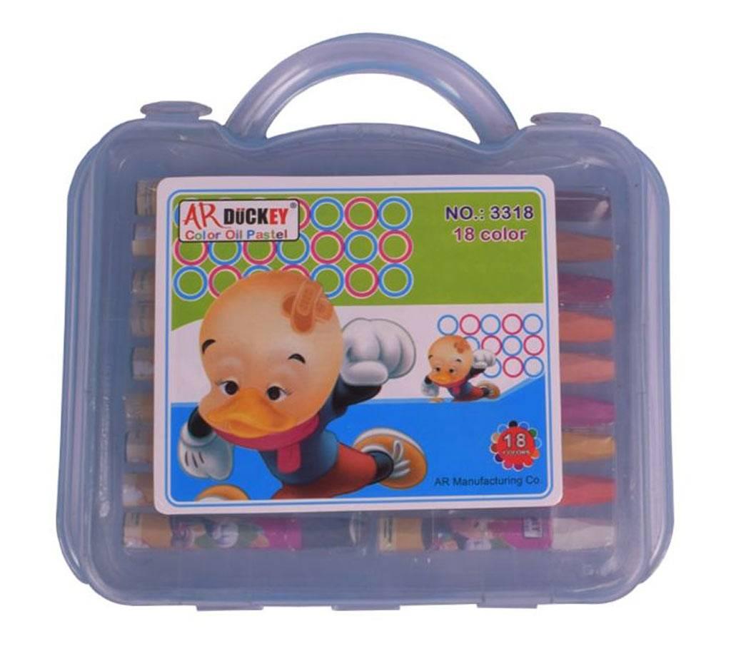 AR Ducky Oil Pastels Box -  ব্লু প্লাষ্টিক বক্স ১৮ কালার বাংলাদেশ - 1019168