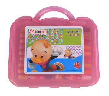 AR Ducky Oil Pastels Box -  Pink Plastic Box 18 Colors