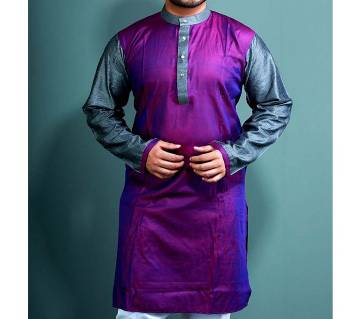 Cotton Design Panjabi  Purple With Silver  102431