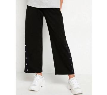 Wide Black Jersey Pant Trousers With Side Buttons For Women