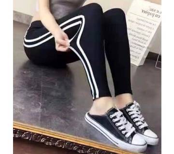 Womens Mid Waist Striped Leggings/Trousers
