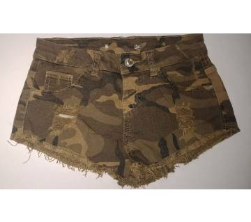 Sexy Girl Draped Shorts Jeans Womens Low Waist Denim Shorts Slim camouflage print Summer Army Green button for Female