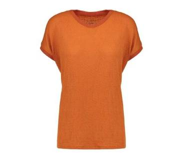 Ladies Branded Multicolored Basic Stretch Scoop Neck T-Shirt