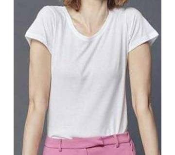 Ladies Branded Multicolored Basic Stretch Scoop Neck T-Shi