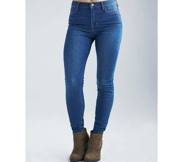 Girls Fashionable Mid Blue Colored Skinny Jeans