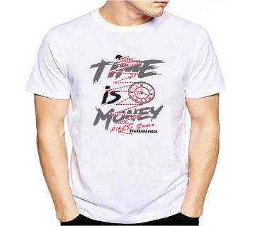 Time is money Half Sleeve Cotton T Shirt-White