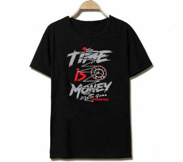 Time is Money Half Sleeve Cotton T-Shirt-Black