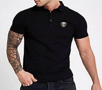 EASY Black Men Polo Cotton T-Shirt