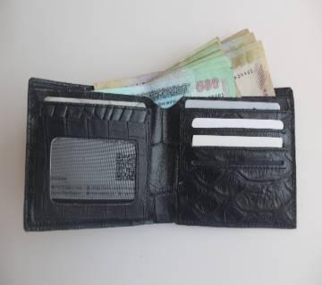 Genuine leather mens slim wallet