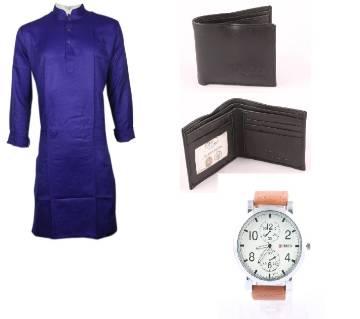 Burmese Cotton Punjabi + PU Leather Mens Wallet (1 Pcs) + Gents Wrist Watch