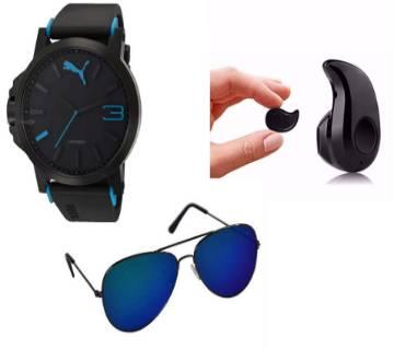 Black Blue Sports Watch for Men + Gents Metal Frame Sunglasses + Mini Wireless Bluetooth Earphones