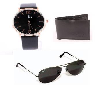 Menz Wrist Watch+Metal Frame Sunglass Wallet Combo  Offer