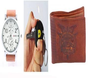 CURREN Jainties Recharge Watch + Key Ring + PU Leather Mens Wallet