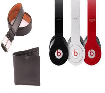 Formal Belt + PU Leather Mens Wallet + Beats Solo HD Stereo Headphones