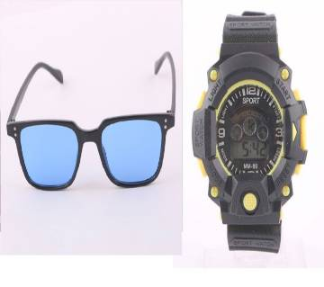 KABIR SINGH Sunglasses for Men + Kids Digital Watch