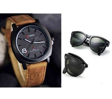 CURREN Gents Wrist Watch + Folding Sunglasses for Men