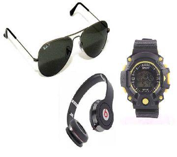 BEATS SOLO HD Stereo Headphones + Men sunglasses + Kids Digital Watch