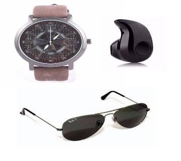 Analog Rest Watch + Bluetooth Headphones + Sunglasses for Men Combo Offer