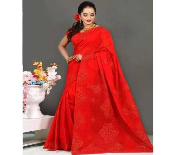 Pure Deshi Beautiful Sharee  158  Red Maroon with Golden Cotton Full Body Design