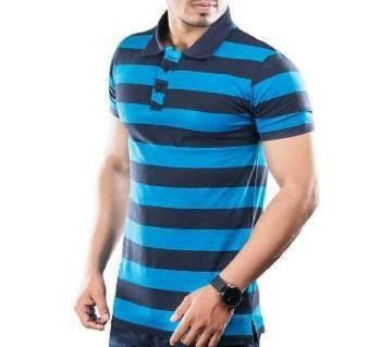 Polo T-shirt For Men  Blue and Navy Blue Combination