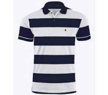 Polo T-shirt For Men  Navy Blue And White Horizontal Striped Combination
