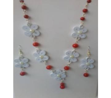 Red & White color Necklace & Ear Rings
