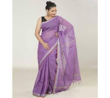 Light Purple color handloom cotton Saree