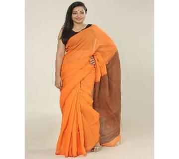 Orange color handloom cotton Saree