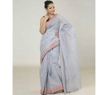 Light Ash Color Handloom Cotton Saree