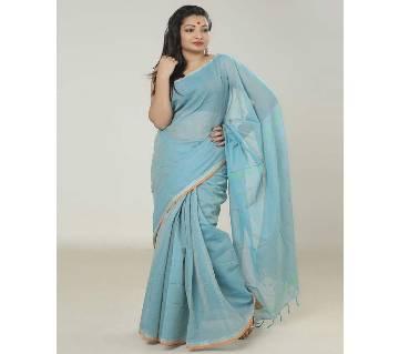 Aqua color handloom cotton Saree