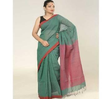 Red & Teal color Handloom cotton Saree