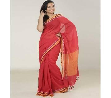 Red color handloom cotton Saree
