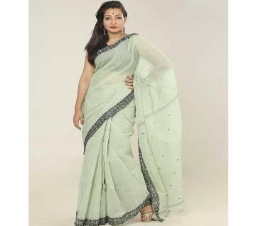 Black & Lemon color handloom cotton Saree
