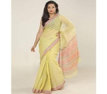 Beige & Pink color handloom cotton Saree
