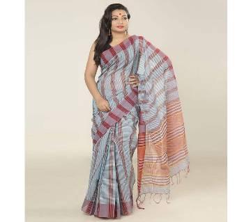 Magenta & Light Ash color handloom cotton Gamsha Saree