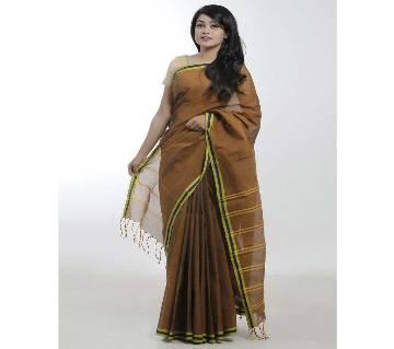 Dark Coffee&yellow body color pure cotton Saree