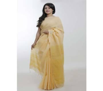 Yellow color pure endi cotton saree