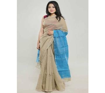 Turquoise Blue Color Endi Achol Handloom Half Silk Saree