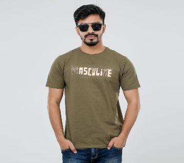 Masculine Olive Solid T-shirt For men