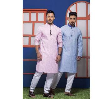 Menz Cotton Semi Long Panjabi Combo - 3