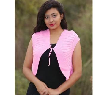 Rose Pink Sleeveless Cardigan