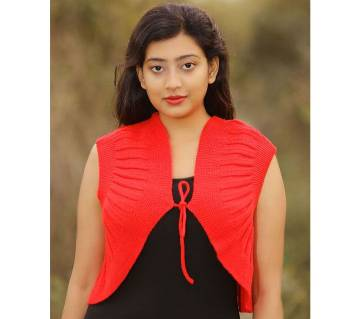 Red Sleeveless Cardigan for women